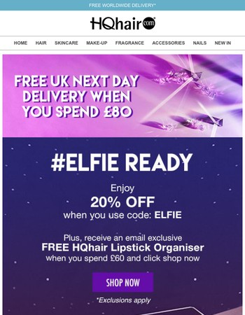 #Elfie Ready | Save 20% Inside + Free Gift