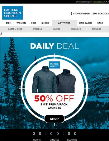 50% OFF ALL EMS Prima Pack Jackets 1 Day Only