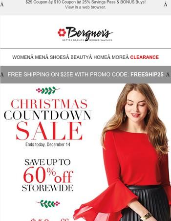 Christmas Countdown Sale + $50 Coupon Ends TODAY!