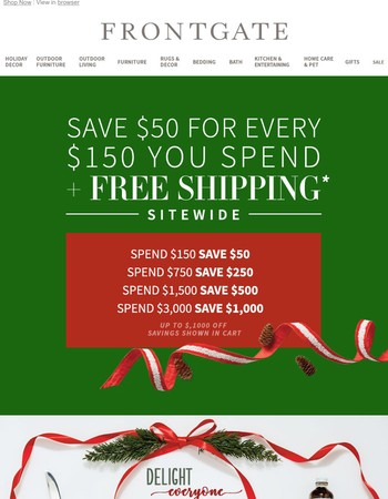 Now with FREE SHIPPING! Save up to $1,000 during our Joy of Giving event