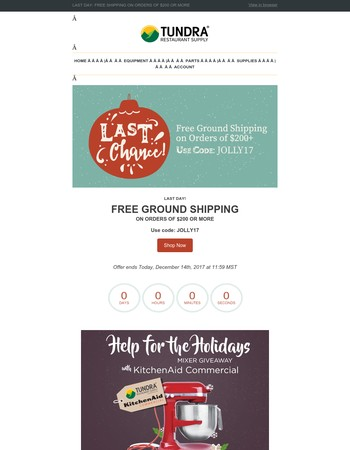 LAST DAY! Free Shipping on Orders of $200 or More!