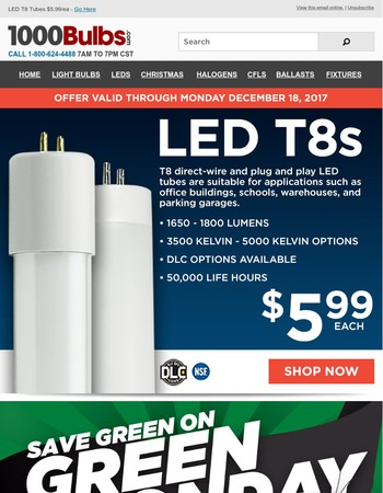 10% Off LED Area Lights and $5.99 LED T8 Tubes