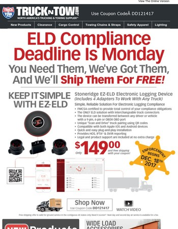 ELD Compliance Deadline Is Monday - You Need Them, We've Got Them