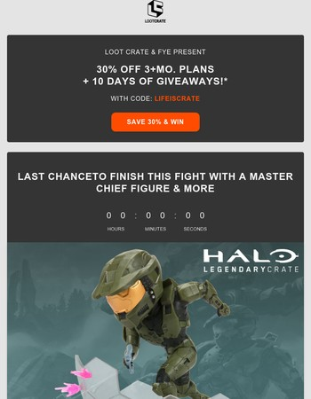 30% Off + LAST Chance for Halo & WWE gear
