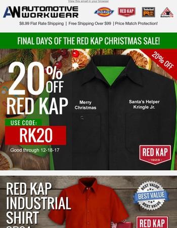 Final Days, 20% Off Red Kap!