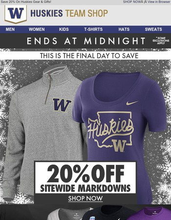 Final Day   20% OFF Sitewide Markdowns   Ends at Midnight