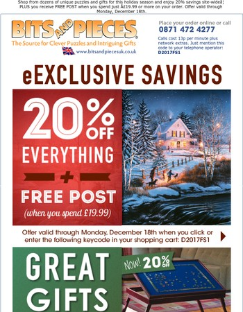 SAVE 20% SITE-WIDE & GET FREE POST On Your Next Order