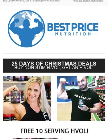 25 Days of Christmas Deals: Buy Pre-Workout H:VOL, Get an H:VOL Free!