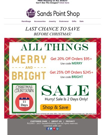 Last Chance To Save 25% Before Christmas!