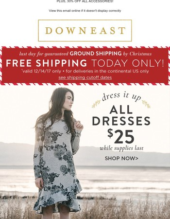 $25 Dresses, $5 Layering Tees, And Free Shipping! Shop Now!