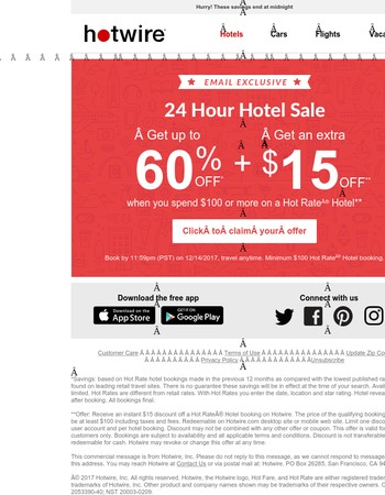24 hour sale! Save an extra $15 on a hotel