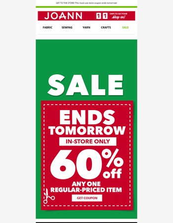 COUPON JUST ADDED! 60% off Any One Regular-Priced Item