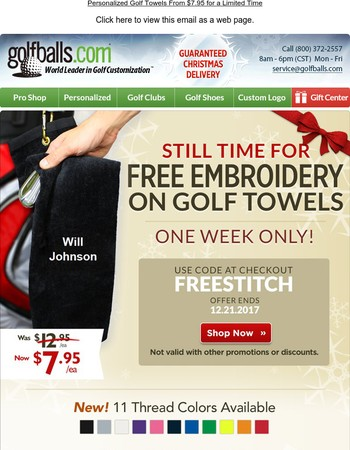 Free Personalization on Golf Towels from $7.95 with Christmas Delivery - Choose from 13 Colors, Great Gift Idea