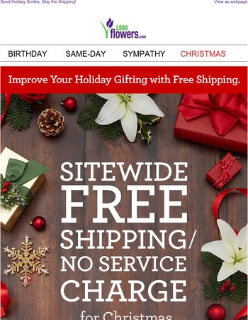 Sitewide Free Shipping/No Service Charge TODAY ONLY!