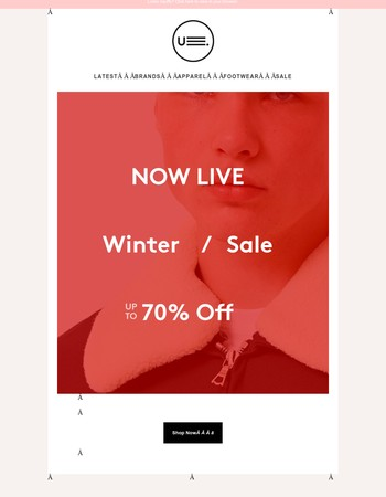WINTER SALE IS LIVE ー Up To 70% Off