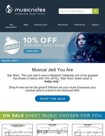 ALL Star Wars Sheet Music on Sale, Today Only!