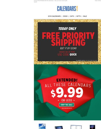 A Gift for YOU! FREE Priority Shipping by 12/24!