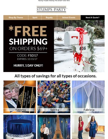 HURRY! FREE Shipping – One Day Only!