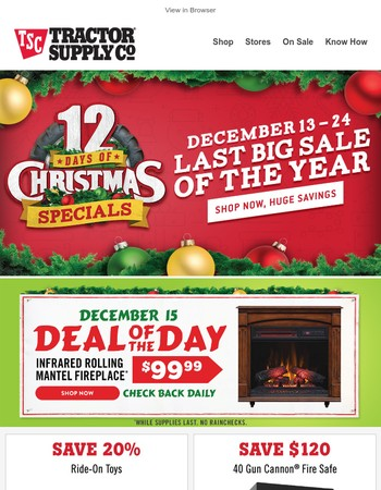 On the 3rd day of Christmas, Save $50 off Infrared Rolling Mantel Fireplace