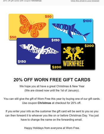 Worn Free Gift Cards (20% OFF)