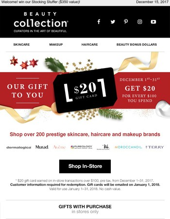 Get $20 gift card with every $100 spend in December