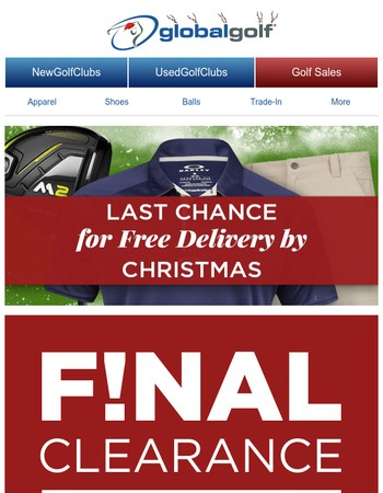 25% Off Final Clearance + FINAL HOURS for Free Delivery by Christmas
