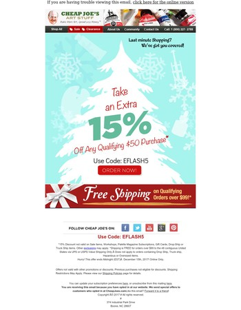 15% Off $50 - Today Only!