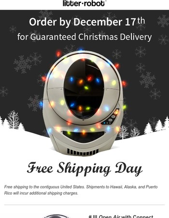 It's Free Shipping Day! Order now for guaranteed Christmas delivery!