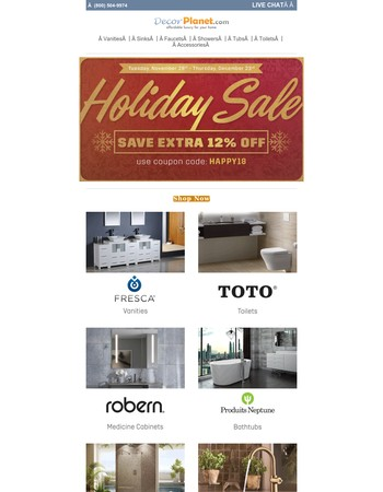 Missed Cyber Monday? Holiday Sale - Extra 12% Off Your Bathroom Renovation