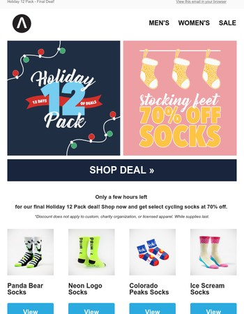 70% Off Socks - Sale Ends at Midnight