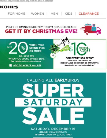 SUPER SATURDAY IS HERE—Come and get these Early Bird Deals!