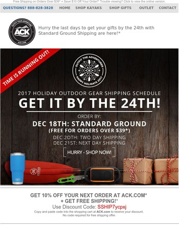 Time is Running Out: Get Your Holiday Outdoor Gear Gifts By the 24th + Save 10% Off All Items!