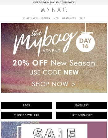 One day only   20% off new season