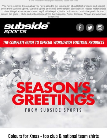 Subside Sports - Colours for Xmas - top club & national team shirts from around the world | Ronaldo & Griezmann Kids Tees | Signed memorabilia