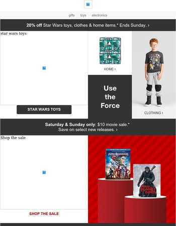 20% off Star Wars toys, clothes & more this weekend.