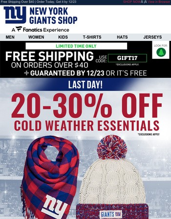 Last Day: Up to 30% Off Giants Cold Weather Gear | Shipped FREE | Arrives by 12/23!