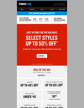 50% off + free shipping over $50.