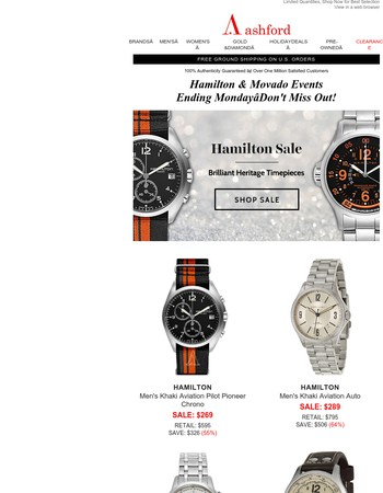 Hamilton & Movado—Our Largest Brand Sales Event is LIVE!