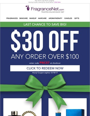 Your Email Exclusive $30 OFF expires soon!