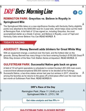 Springboard Mile   DRF Bets Free Handicapping Contest   Saturday Recap