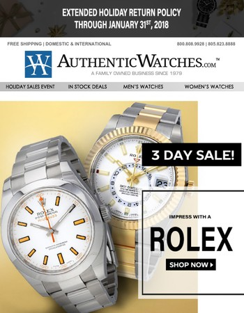 Rolex 72 Hour Sale!  ONLY 6 SHOPPING DAYS LEFT!
