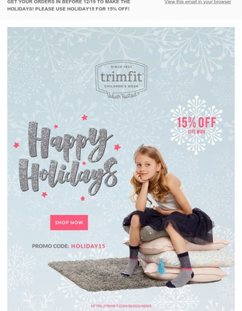 TRIMFIT - FINAL SHIPPING DAY DECEMBER 19TH TO MAKE HOLIDAYS
