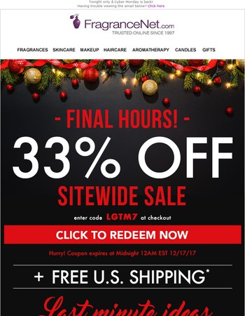 FINAL HOURS! 33% OFF - Cyber Monday 2.0