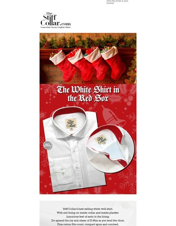 White twill shirt with satin lining in Christmas red