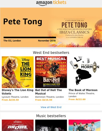New Pete Tong 2018 date, plus Lion King, Michael McIntyre, Peter Pan and more bestsellers