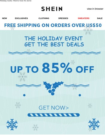 The Holiday Sale: Up to 85% off