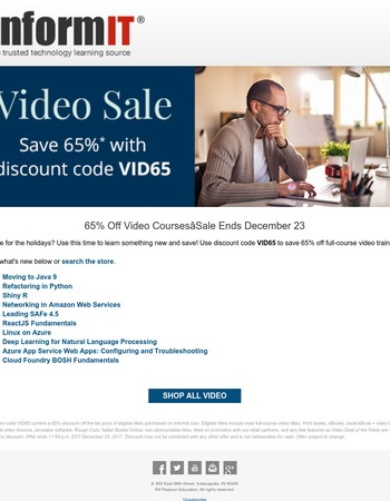 Video Training Sale - Save 65%