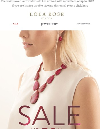 The SALE is here: up to 50% off jewellery & scarves