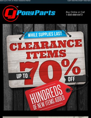 Save up to 70% on these Clearance Items!