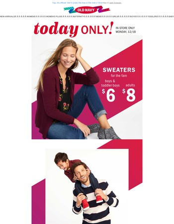 TODAY'S DEAL: Sweaters for $8!